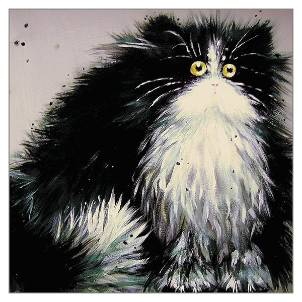 'Gladys' Funny Black & White Cat Greeting Card by Kim Haskins