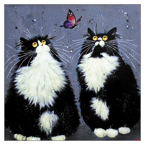 'Posie & Domino' Cat Greeting Card