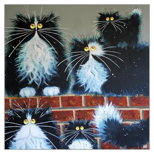 'Wall for Cats' Funny Cat Greeting Card by Kim Haskins