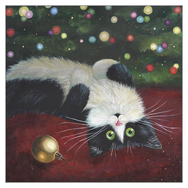'Baubles' Black & White Cat Greeting Christmas Card by Kim Haskins