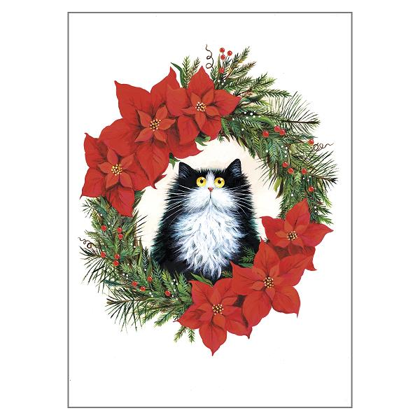 Black & White Cat in Poinsettia Wreath Greeting Christmas Card by Kim Haskins