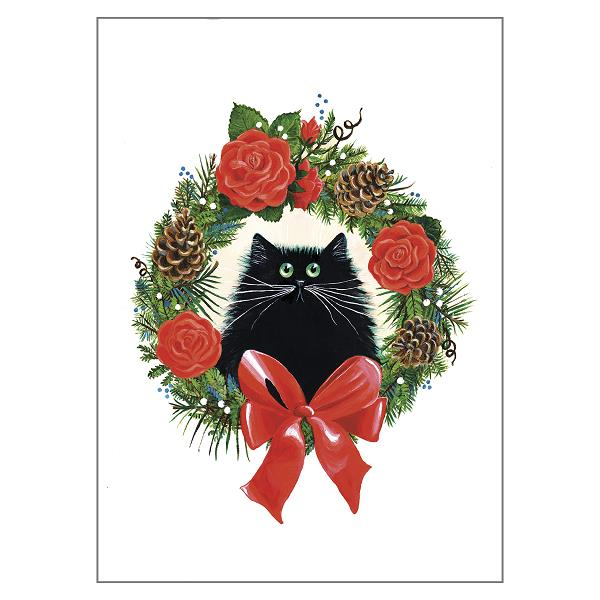Black Cat in Rose Wreath Greeting Christmas Card by Kim Haskins