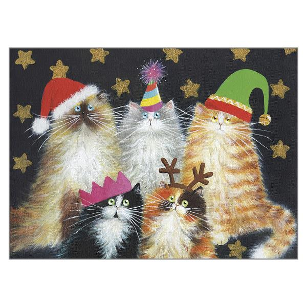 'Christmas Cats' Cat Greeting Christmas Card by Kim Haskins