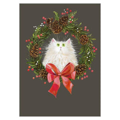 Festive Wreath White Cat Greeting Christmas Card by Kim Haskins