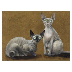 'Fluffy & Coco' Blank Cat Greeting Card by Kim Haskins