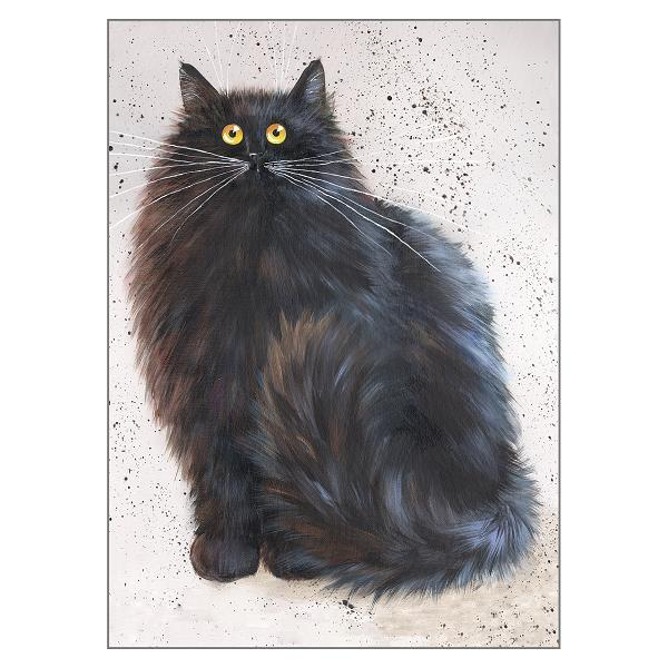 'Herman' Blank Black Cat Greeting Card by Kim Haskins