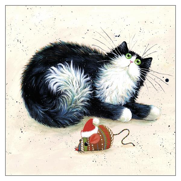 'Merry Christmouse' Black & White Cat Greeting Christmas Card by Kim Haskins