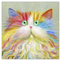 'Moustachou' Cat Greeting Card by Kim Haskins