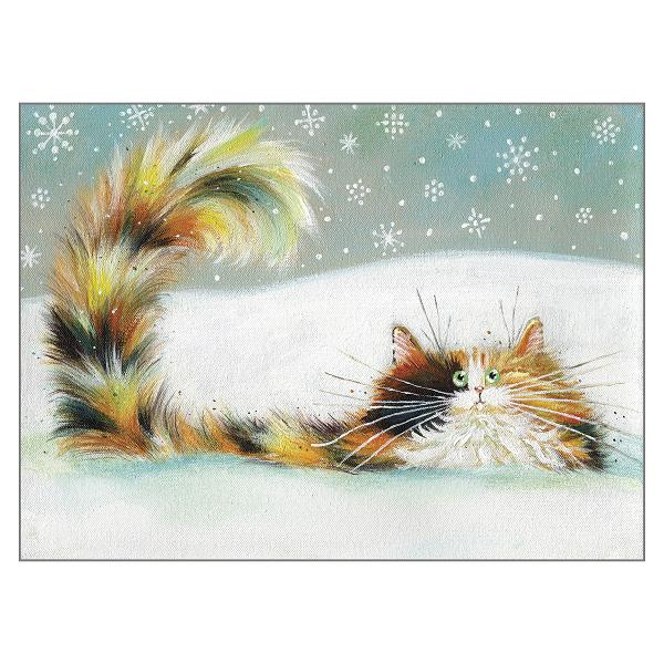 'Tortie in Snow' Cat Greeting Christmas Card by Kim Haskins