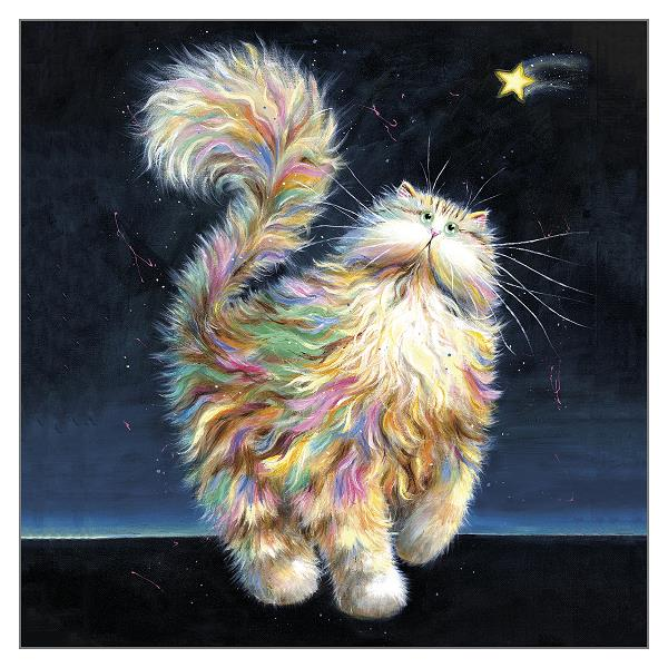 'Twinkle' Cat Greeting Christmas Card by Kim Haskins