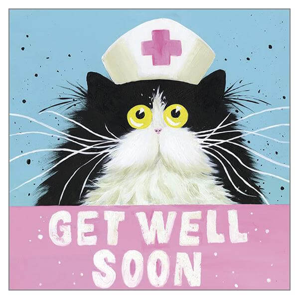 'Get Well Soon' Cat Greeting Card by Kim Haskins