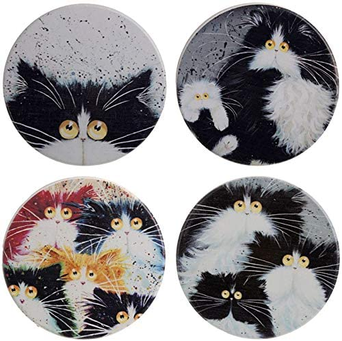 Set of 4 Cat Coasters by Kim Haskins