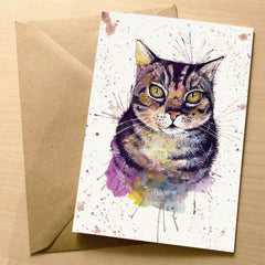 Beautiful Water Colour 'Splatter' Cat Greeting Card