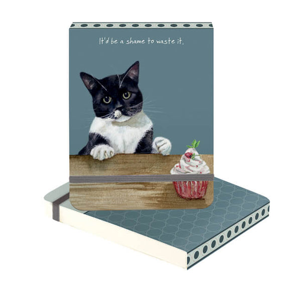 Cupcake Black & White Cat Mini Flip Notebook