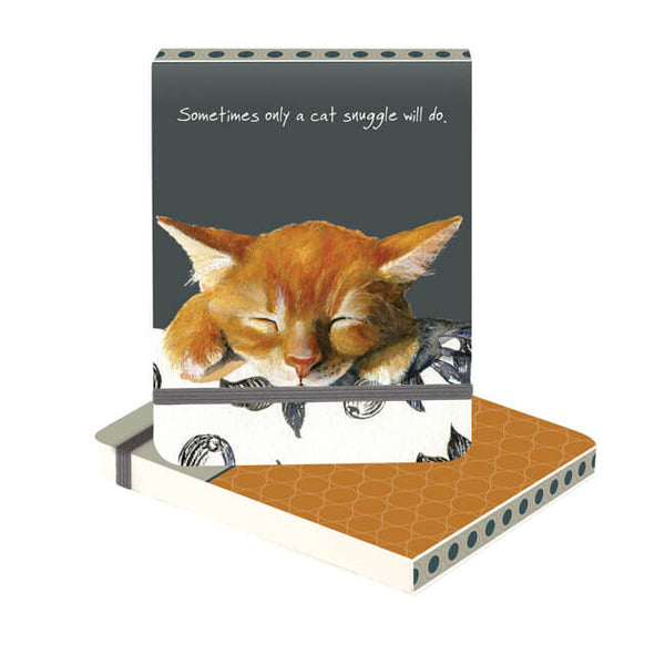 'Snuggle' Ginger Cat Mini Flip Notebook