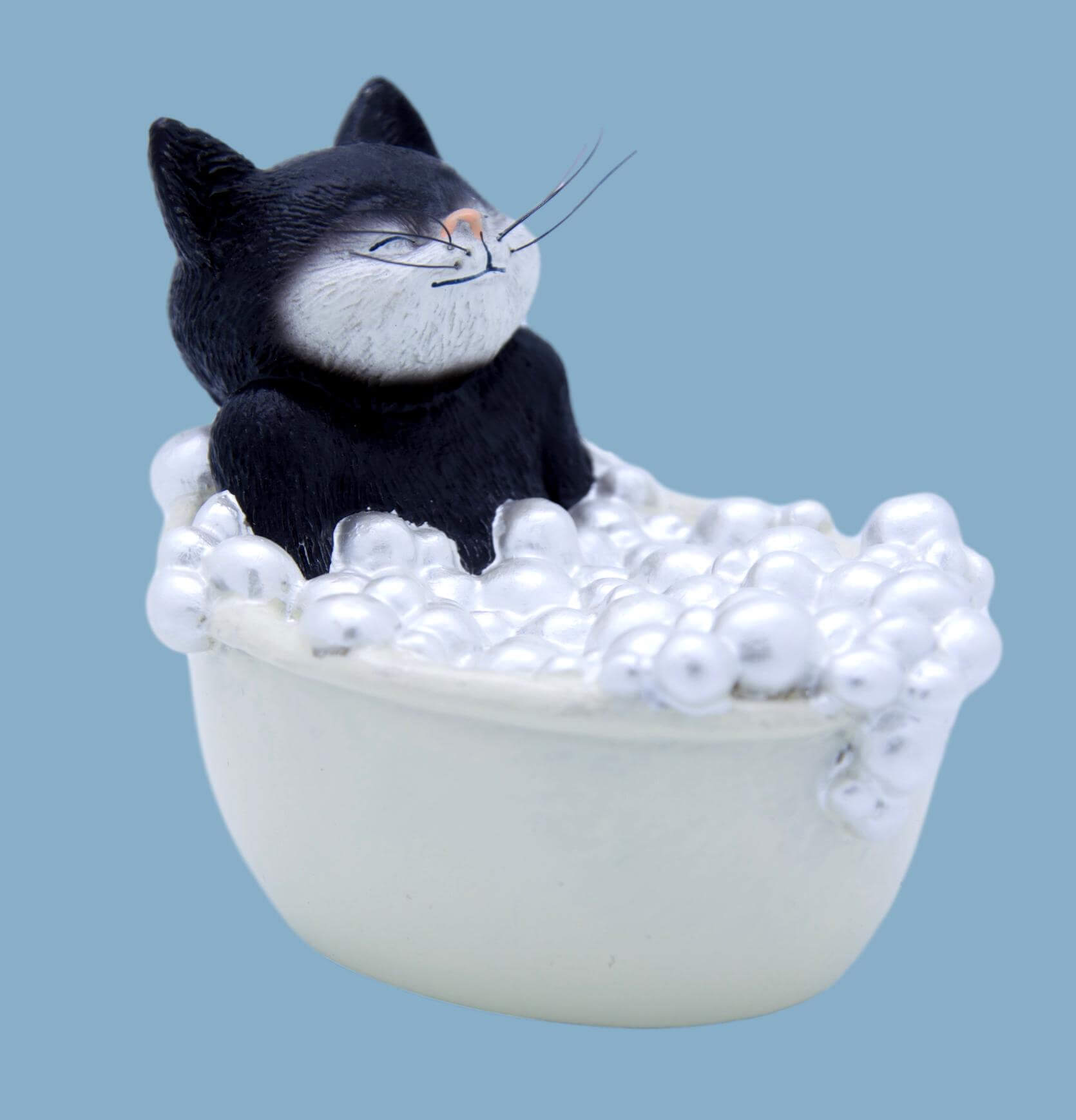 9 Lives Purr-fect Black & White Cat Figurine