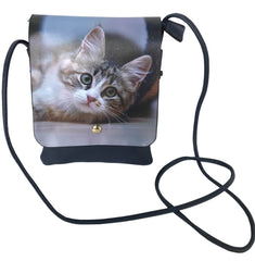 Lisa Cat Small Tabby Kitten Faux Leather Shoulder Bag