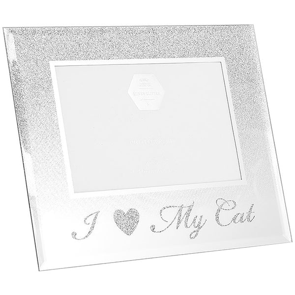 Glass & Glitter Mirror I Love My Cat Picture Frame