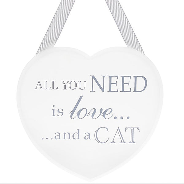 All You Need is Love and a Cat Heart Plaque