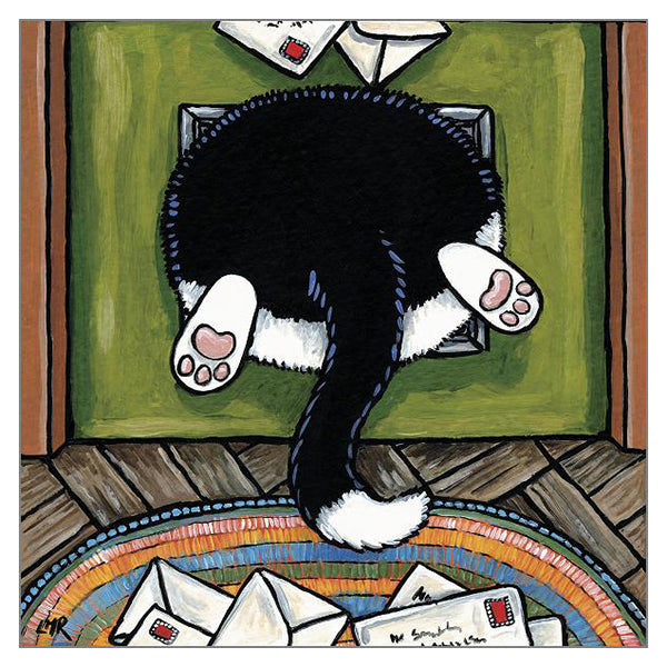 'Bit of a Squeeze' Cat Greeting Card by Lisa Marie Robinson