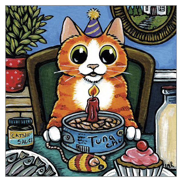 'It's My Birthday' Cat Greeting Card by Lisa Marie Robinson