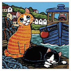 'Lunch has Arrived' Cat Greeting Card by Lisa Marie Robinson