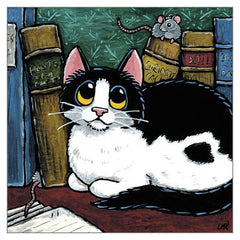 'Mice in the Reading Room' Cat Greeting Card by Lisa Marie Robinson