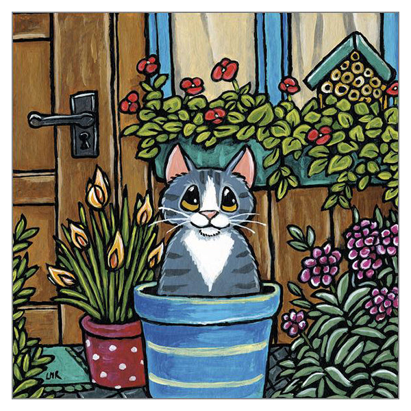 'Potted Cat' Cat Greeting Card by Lisa Marie Robinson