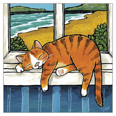 'Relaxing Sea View' Cat Greeting Card by Lisa Marie Robinson