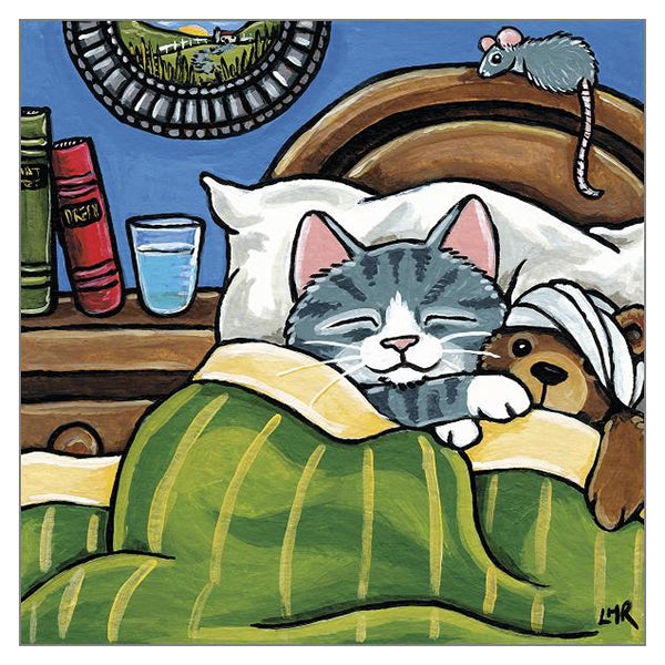 'Sore Head Ted' Cat Greeting Card by Lisa Marie Robinson