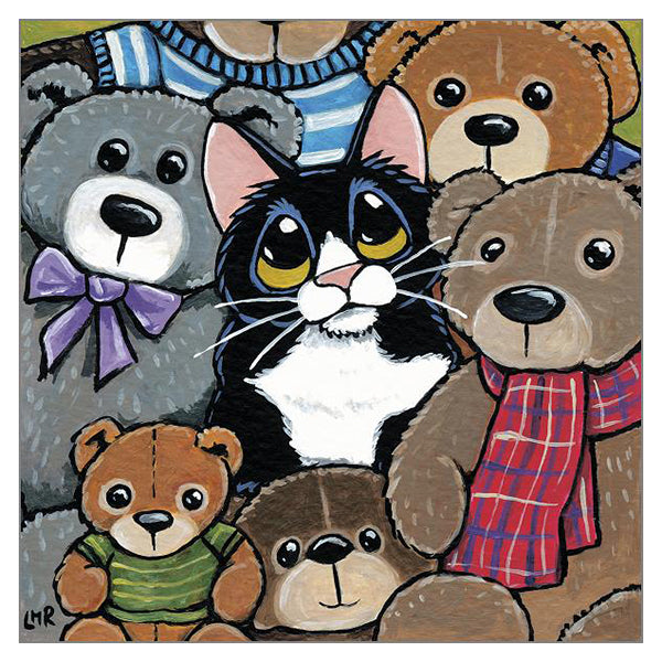 'Teddy Boy' Cat Greeting Card by Lisa Marie Robinson