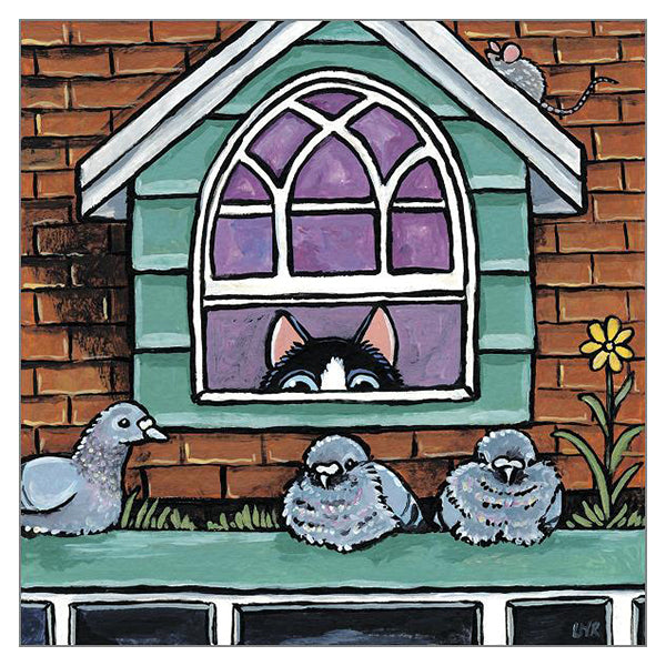 'The Roost' Cat Greeting Card by Lisa Marie Robinson