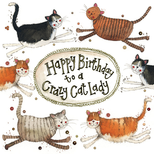 Crazy Cat Lady Little Sparkle Birthday Card