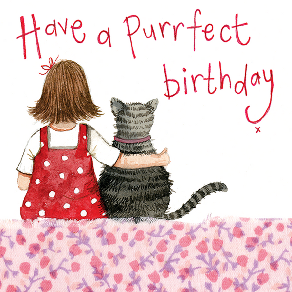 Red Spotty Purrfect Little Sparkle Birthday Card