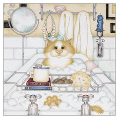 'Betty's Bubble Bath' Cat Greeting Card