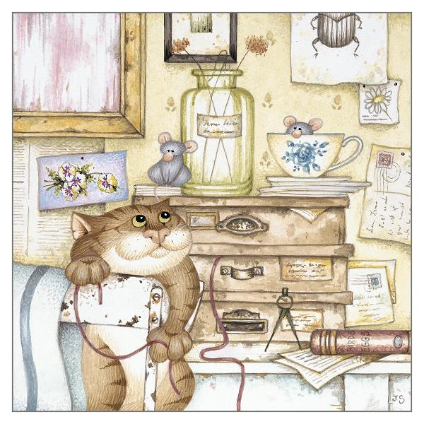 'Tea for Two' Cat Greeting Card