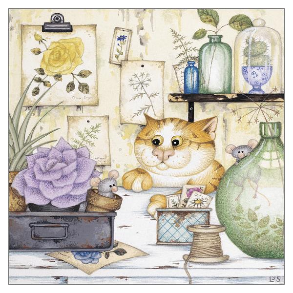 'The Botanist' Cat Greeting Card