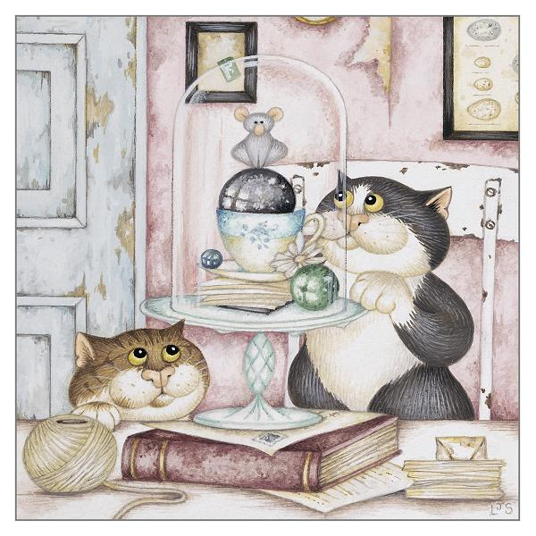 'The Collectors' Cat Greeting Card