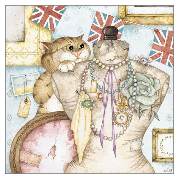 'Victor's Vintage' Cat Greeting Card