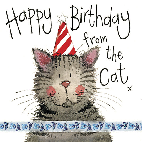Stripy Hat Little Sparkle From the Cat Birthday Card
