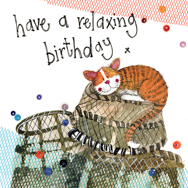 Lobster Pots Little Sparkle Ginger Cat Birthday Card