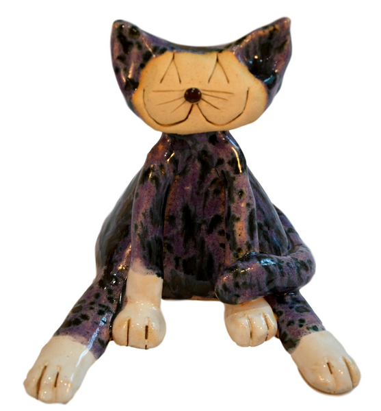 Ceramic Lazy Cat Purple
