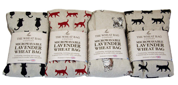 Microwavable Lavender Cat Wheat Bag