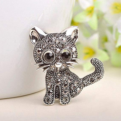 Little Kitty Silver Crystal Brooch / Scarf Pin