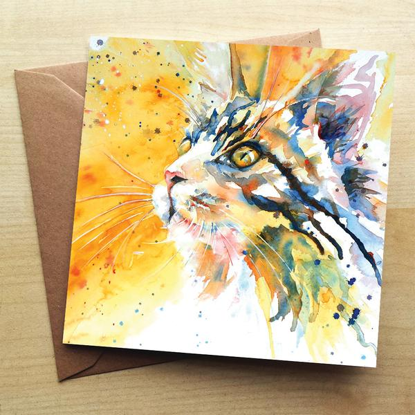 Beautiful Water Colour Cat's Eye Greeting Card