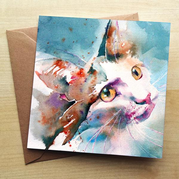 Beautiful Water Colour The Look of Love Cat Greeting Card