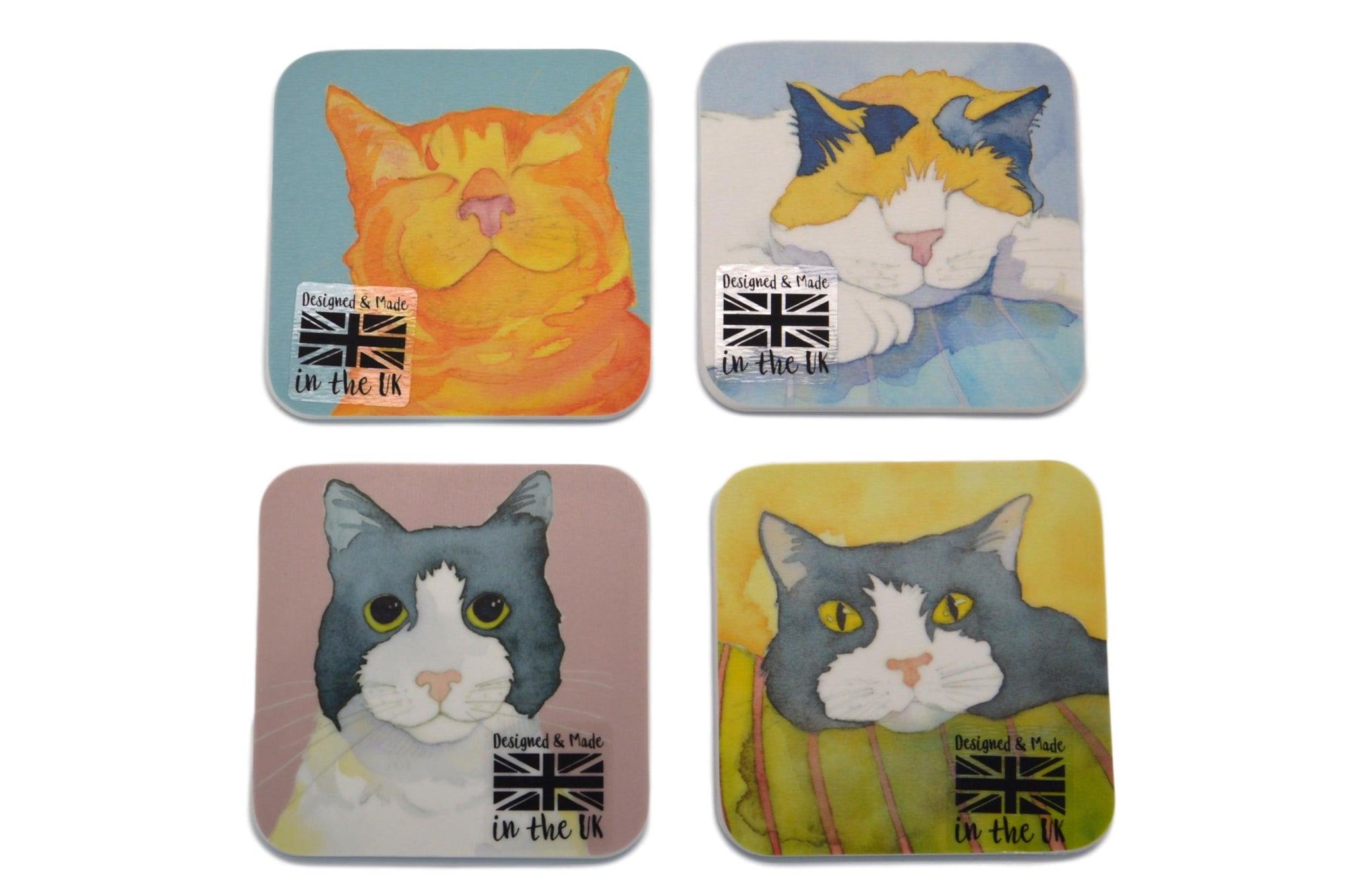 Cat Coasters, Stunning Watercolour Design, Set of 4
