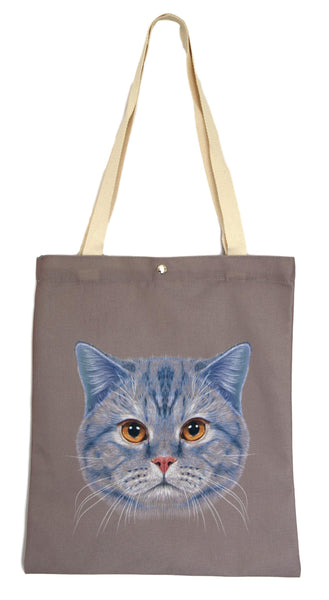 Brown Cat Canvas Tote Bag