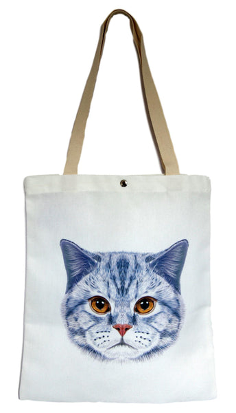 White Cat Canvas Tote Bag