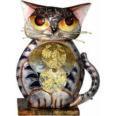 Metal Cat Figurine Lamp with Seashells